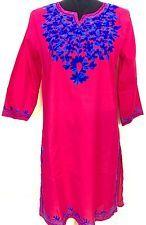 Women 100% Cotton Kurti Kurta Tunic Dress Top Hand Embroidered Pink Size Large