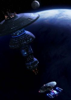 Enterprise D approaching Starbase