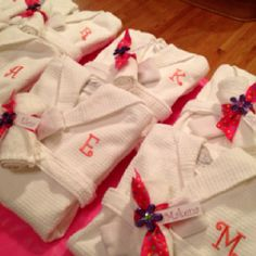 Did this for Abby's birthday party this year.  She wanted a spa party so I got robes for the girls to wear and iron on letters to personalize them. www.kristenfrancedesigns.com