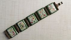 Vintage Signed Matisse Abstract Copper Enamel Bracelet. $32.00, via Etsy.
