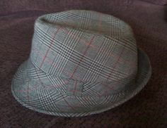 vintage grey maroon black plaid fedora hat by allfortheboys, $18.00