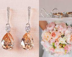 Crystal Bridal Earrings, Champagne Wedding Earrings, Gold Bridesmaid jewelry, Gold Drop Earrings, Gold Lilliana