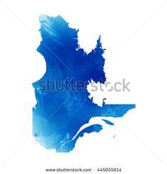 Vector map Quebec. Vector Illustration. Watercolor effect. EPS 10 Illustration.