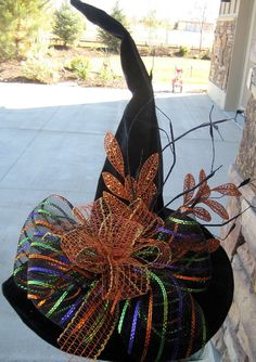 Witches Hat Tall Velvet Witch Hat by SprigsHolidayDecor on Etsy, $45.00