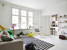 white, light Scandinavian living room