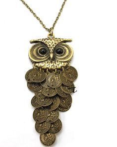 Big Eyed Owl Coins Necklace