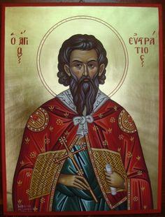 Ο Άγιος Ευστράτιος, St. Efstratios Byzantine Art, Orthodox Icons, Buddha, Saints, Statue, Sculptures, Sculpture