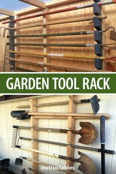 Put together a cheap and simple garden tool rack for your shed or garage. Great for keeping tools safely off the floor and at hand. Outdoor Tool Storage, Garden Tool Storage, Outdoor Tools, Shed Storage, Water Storage, Locker Storage, Tool Shop Organization, Garage Workshop Organization, Workshop Storage