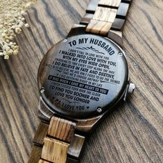 Limited stock!🔥 35 people are viewing this, 350 recently purchased it and345 have it in their cart. A GREAT GIFT FOR YOUR HUSBAND! Get your husband something special! This is a beautiful watch made from real wood. Great Gifts For Boyfriend, Gifts For Fiance, Great Gifts For Men, Love Gifts, Diy Gifts, Gifts For Him, Leather Notebook, Wooden Watch, Beautiful Watches