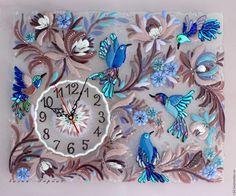 Часы для дома ручной работы. панно - часы  из стекла, фьюзинг Райские птички. Лилия  Горбач-ФЬЮЗИНГ. Ярмарка Мастеров. панно