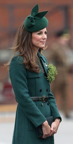 Catherine, Duchess of Cambridge attends the St Patrick's Day parade at Mons Barracks on March 17, 2014 in Aldershot, England. Catherine, Duc...