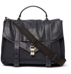 PS1 Extra Large Leather and Canvas Messenger Bag   MR PORTER