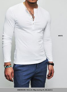 Tops :: Tees :: Washed Cotton Henley Button Long Sleeve-Tee 156 - Mens Fashion Clothing For An Attractive Guy Look
