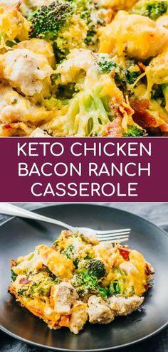 Recipe For Chicken Bacon Ranch Casserole, Keto Casserole, Recipe Chicken, Diabetic Chicken Recipes, Bacon Chicken Recipes, Bacon Recipes For Dinner, Cashew Chicken, Recipes With Chicken Chunks, Dessert Recipes