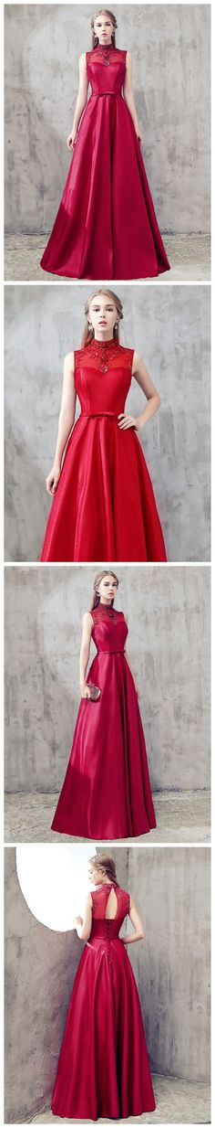 A-LINE RED HIGH NECK SATIN BEADING CHIC LONG PROM DRESS EVENING DRESS AM632 #amyprom  #fashion #party #evening #chic #promdress #promdresslong #longpromdress #eveningdress #red