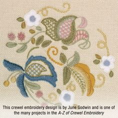 This beautiful crewel embroidery design, stitched with Appleton's Crewel Wool, is by June Godwin. The design is one of the many projects in the A-Z of Crewel Embroidery, a book by Country Bumpkin.