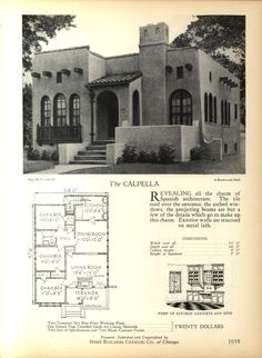 The CALPELLA - Home Builders Catalog: plans of all types of small homes by Home Builders Catalog Co.  Published 1928