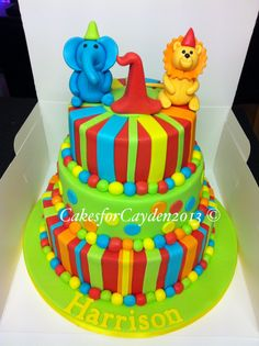 3 Tier 1st Birthday Cake Very Bright And Colourful Perfect For A Kids Party