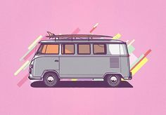 "1,206 Likes, 10 Comments - @musketon on Instagram: ""VW van #drawing #vector #vw #illustration"""