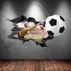 5025a311996 3D FOOTBALL FULL COLOUR CRACKED GOAL Wall Art stickers Decal Boys Graphic  Mural Print Self Adhesive WSD15: Amazon.co.uk: Kitchen & Home