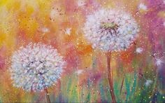 How To Paint A Dandelion: 10 Amazing and Easy Tutorials! Step By Step Watercolor, Step By Step Painting, Acrylic Painting Tutorials, Painting Techniques, Dandelion Painting, Dandelion Wallpaper, Love Painting, Painting Flowers, Drawing Flowers