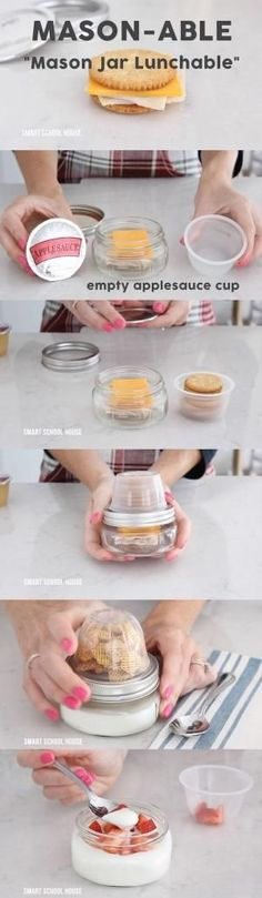 "DIY Mason Jar Lunchable (""Mason-able""). How to make Mason Jar Lunchable with an apple sauce cup and a mason jar! by bleu."