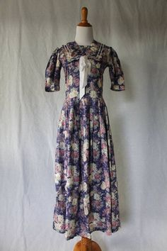 VINTAGE LAURA ASHLEY Violet Sailor Dress Boating 1920's Gatsby US sz 4 UK 8 #LauraAshley #SailorDress #Casual