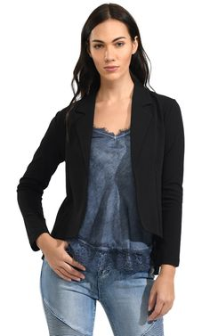 Hi-lo pleated back jacket material: polyester mix colour: black sizes: S, L care: hand wash Boutiques, Color Mixing, Leather Jacket, Clothing, Jackets, Black, Tops, Women, Fashion