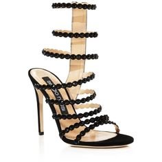 Sergio Rossi Kim Embellished Strappy High Heel Sandals ($1,225) ❤ liked on Polyvore featuring shoes, sandals, black multi, black strappy sandals, black embellished sandals, strappy sandals, sergio rossi shoes and black shoes