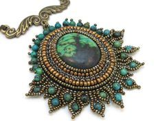 ** Turquoise,  Brown, & Teal Seed Bead Woven Pendant @vfl
