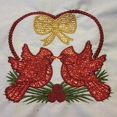 Cardinal Heart Mylar - 5x7 | Christmas | Machine Embroidery Designs | SWAKembroidery.com SewAZ Embroidery Designs