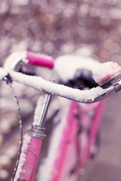 Pink bike in the snow. Magical.