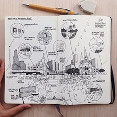 Diagrammatic sketch : amer loves to travel around the world and find out what makes each city so unique. Here are some notes about Melbourne, Australia // amer Croquis Architecture, Architecture Sketchbook, Study Architecture, Sketch Notes, Hand Sketch, Sketches Arquitectura, Urbane Analyse, Sketch Journal, Concept Diagram