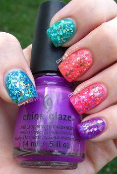 jelly sandwich summer nails - using China Glaze Sunsational jellies.  facebook @ GAME N GLOSS