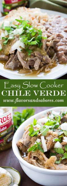 Super easy tender shredded pork in a rich flavorful chile verde salsa perfect for a weeknight meal or your next gathering!