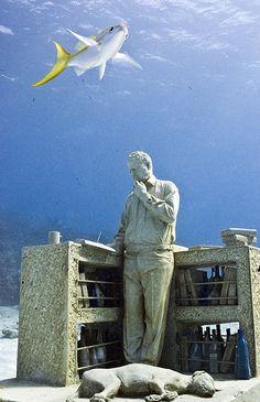 Underwater sculpture garden in Cancun