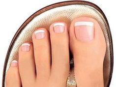 I didn't think that I would like French manicures on ties, but this looks good! #PedicureIdeas