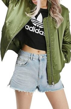 Topshop 'MA1' Shiny Bomber Jacket - Shop for women's tops