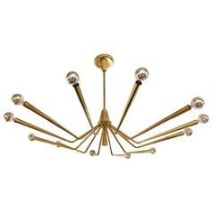 Large Brass Chandelier by Oscar Torlasco for Lumi