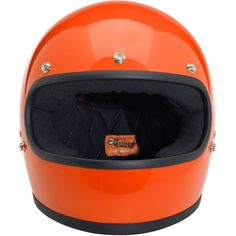 Biltwell Gringo DOT Helmet - Gloss Hazard Orange  • Injection-molded ABS outer shell with hand-painted finish • Expanded polystyrene inner shell • Hand-sewn brushed Lycra liner w/ contrasting diamond-stitched quilted open-cell foam padding • Meets DOT safety standards • Internal BioFoam chin pad with hand-sewn contrast stitching • Rugged plated steel D-ring neck strap with adjustment strap end retainer • Rubber edging on shell and eye port  $159.95
