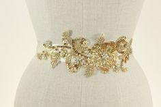 Gold Wedding Sash Beaded Wedding Belt Floral & by CamillaChristine, $178.00