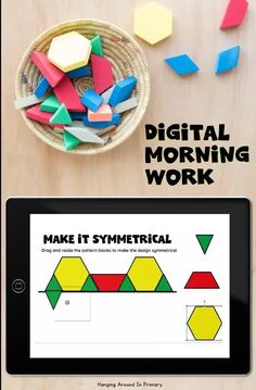 Take your morning work digital! This is the perfect alternative to worksheet morning work. Start the school day with a digital version of morning tubs with pattern blocks for a soft start entry to your day in kindergarten, first grade and second grade. These also make great digital math centers.Perfect for distance learning or for a digital in class option. This is a Google Slides resource with digital activities for math review of math concepts like symmetry, patterning and spatial awareness. Symmetry Math, Symmetry Activities, Work Activities, Preschool Learning, Kindergarten Activities, Grade 2, Second Grade, Math Patterns, Morning Activities