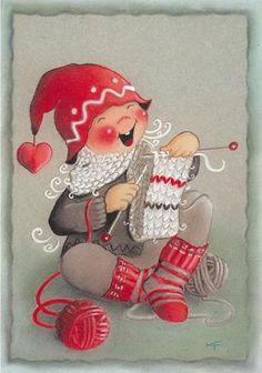 "From the ""Ilmaveivi [Michigan] series,"" of Christmas cards -- by Kaarina Toivanen, Finnish Vintage Christmas Cards, Christmas Art, Vintage Cards, Xmas, Knitting Humor, Knitting Yarn, Hand Knitting, Knit Art, Christmas Illustration"