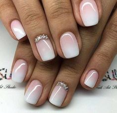 Wedding ombré nails. Pink and white Nail Design, Nail Art, Nail Salon, Irvine, Newport Beach