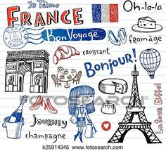 France symbols as funky doodles vector image on VectorStock Ted, France Drawing, Core Learning, Champagne, French Songs, Doodles, Singing Time, Paris Party, Paris France