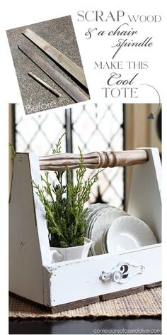 Make this cool tote with an old chair spindle and some scrap wood from Confessions of a Serial Do-it-Yourselfer (Cool Crafts To Sell) Scrap Wood Projects, Woodworking Projects, Diy Projects, Woodworking Beginner, Simple Projects, Kids Woodworking, Woodworking Furniture, Wooden Crafts, Wooden Diy