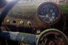 Abandoned car cemetery in Chatillon; close up on speedometer