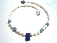 Gemstone necklaceWhite Coral Angelite Lapis Lazuli by Iridonousa Gemstone Necklace, Gemstone Beads, Beaded Necklace, Blue And White Necklaces, Sell On Etsy, Semi Precious Gemstones, Lapis Lazuli, Coral, Sky