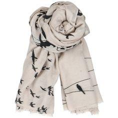 Becksondergaard C Birds on a Wire Wool and Silk Blend Scarf ❤ liked on Polyvore featuring accessories, scarves, woolen shawl, becksöndergaard, wool scarves, wool shawl and woolen scarves