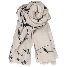 Becksondergaard C Birds on a Wire Wool and Silk Blend Scarf ❤ liked on Polyvore featuring accessories, scarves, woolen shawl, becksöndergaard, wool scarves, wool shawl and woolen scarves